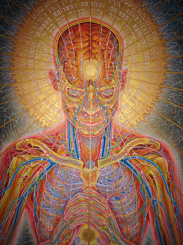 "Mind, Karma, Action, Result (""Prayer"" by Alex Grey)"