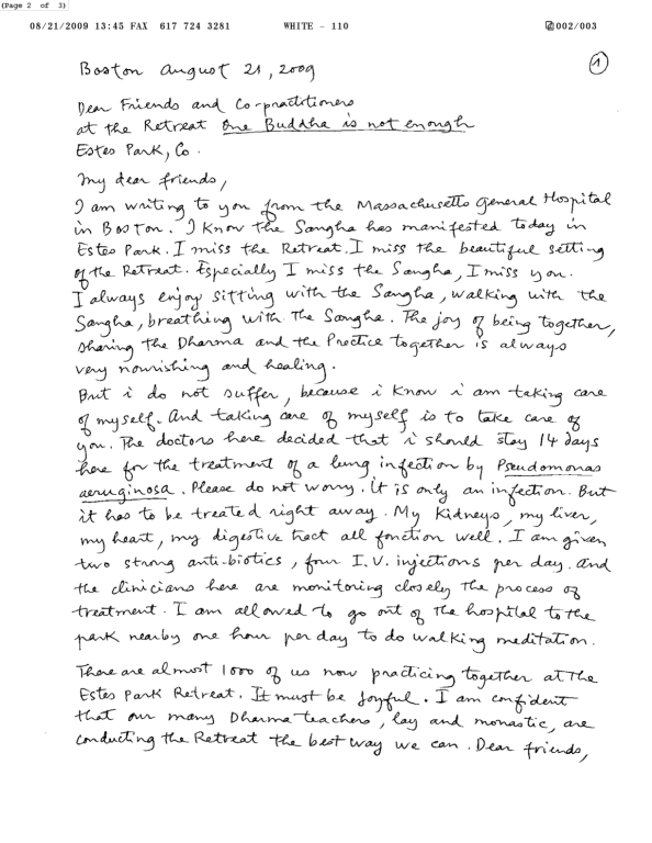 Thay's Letter to the Sangha 1